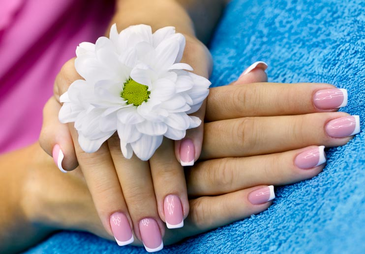 French Manicure rosa / pink mit weiss